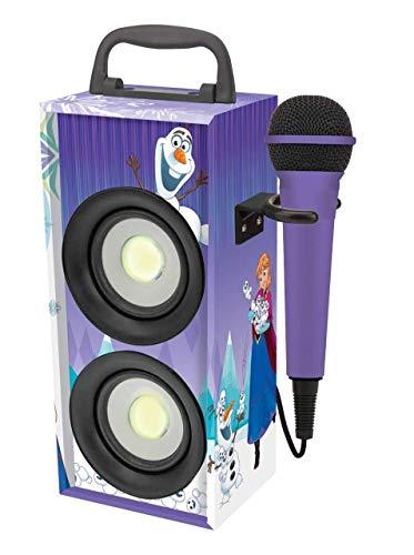 LEXIBOOK Recargab Disney Frozen-Altavoz Portátil Inalámbrico con Bluetooth, Luces Disco, Micrófono, Toma Jack, USB, SD, Batería Recargable (BTP155FZZ), Color Azul, Morado