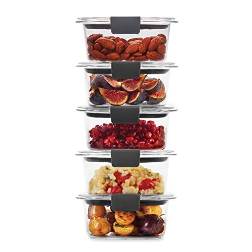 Rubbermaid Leak-Proof Brilliance Food Storage Set | 1.3 Cup Plastic Containers with Lids | Microwave and Dishwasher Safe, 5-Pack, Clear