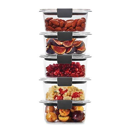 Rubbermaid Contenedores de almacenamiento de alimentos, plástico sin BPA, Transparente, 1.3 Cup, 5-Pack,…