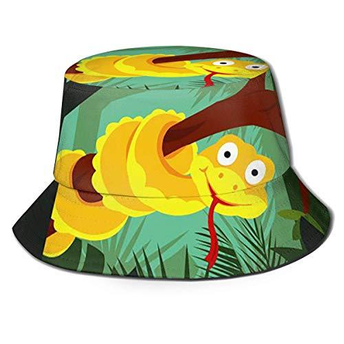 KSDD Kappen Cartoon Anaconda auf Zweig Fischerhut Sommer Fischer Kappe für Jugendliche Outdoor Camping Wandern Angeln Jagd Golf