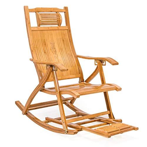 Ligstoel, tuinstoel, zonnebank met voetensteun, opklapbare bamboestoel