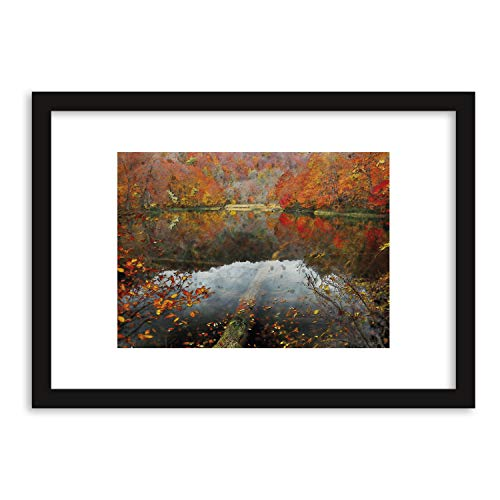 GaviaStore Prenten en schilderijen van de hoogste kwaliteit - Herfst - met lijst 70x50 cm - afbeelding beeld geschilderd beschilderd foto poster meubelen woondecoratie art prints woonkamer hal muurschilderingen omlijst ingelijst