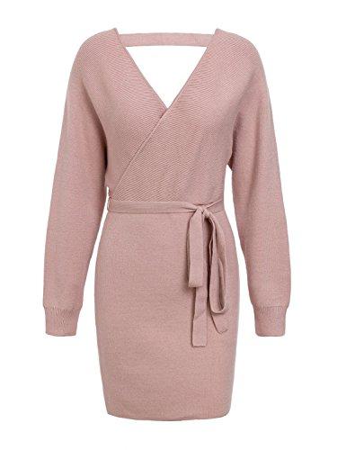 Melegant Damen Herbst Strickkleid Elegant Bodycon V-Ausschnitt Rückenausschnitt Langarm Kleid Winter mit Gürtel, Rosa, 38