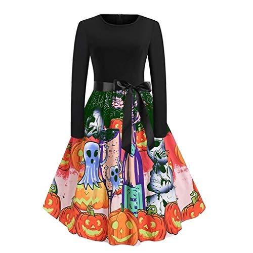 Dames Vintage Lange Jurk O-hals Lange Mouw Halloween Schedel Print Swing Jurk, Kostuums voor Halloween, Avondfeest, Kerstmis