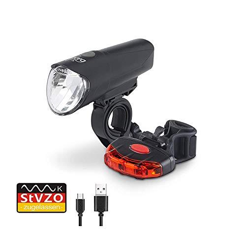 DANSI LED Fahrrad-Akkuleuchtenset, StVZO, schwarz, 44002