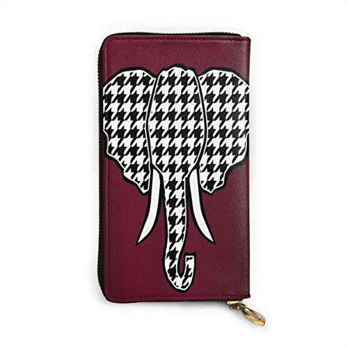 UXZTU Bama Elephant Head Damen Original Leder Geldbörse Reißverschluss um Brieftasche Clutch Wallet Geldbörse