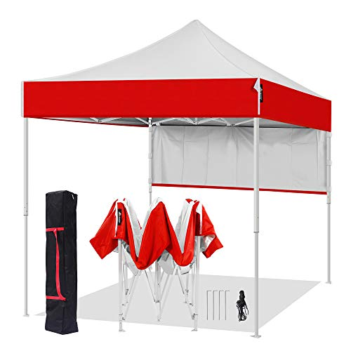 AMERICAN PHOENIX 8x8 Pop Up Tent Instant Outdoor Canopy Portable Shade Folding Tent Carry Bag (White & Red)