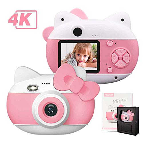 le-idea kindercamera met flitser, digitale camera voor kids met HD 1080P / 4K pixels camera (4032 * 3024) / 2,0 inch IPS-scherm / 16G TF-kaart (roze)