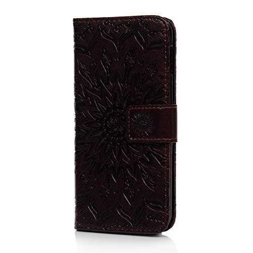 Galaxy S10e hoesje, schokbestendige hoes met reliëf Zonnebloem portemonnee hoesje Flip PU lederen dunne Folio Notebook Stijl Skin Card Slots Kickstand Magnetische sluiting Telefoonhoesje voor Samsung Galaxy S10e Rose Rood