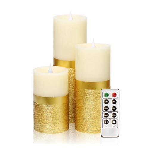 Yjswkfi Luz de Las Velas 3pcs llevó la Vela del Pilar de la Vela sin Llama con Mando a Distancia y un Temporizador automático for el hogar decoración de la decoración del Partido, de Oro