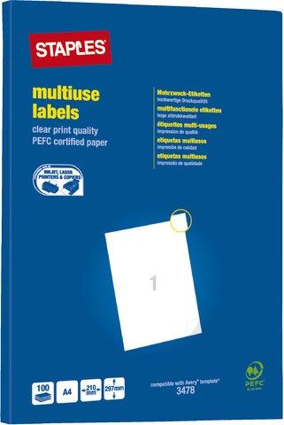 STAPLES® Etikett, Inkjet/Laser/Kopierer, auf A4-Bogen, selbstklebend, Papier, 210 x 297 mm, weiß (100 Stück), Sie erhalten 1 Packung á 100 Stück