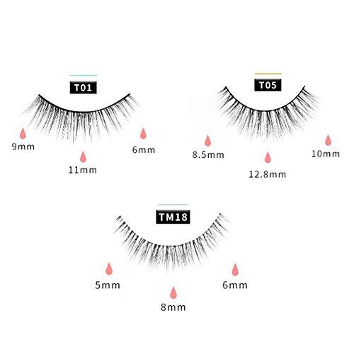 3 Pairs Magnetic Eyelashes with Eyelash Curler, Curler Set Quantum Soft Magnetic False Eyelashes for Makeup
