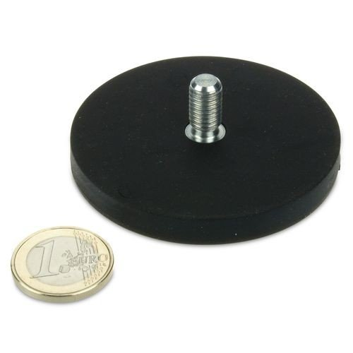 Magnetsystem Ø 66 mm gummiert mit Gewinde M8x15 - hält 25 kg,Gewindezapfen, Außengewinde, starker Halt durch Neodym-Magnete, anschrauben