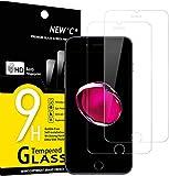 NEW'C 2 Unidades, Protector de Pantalla para iPhone 7 y iPhone 8, Antiarañazos, Antihuellas, Sin Burbujas, 9H, 0.33 mm Ultra Transparente, Vidrio Templado Ultra Resistente