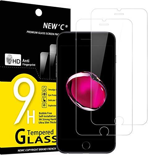 NEW'C 2 Pezzi, Vetro Temperato per iPhone 7 e iPhone 8 (4.7'), Pellicola Prottetiva Anti Graffio, Anti-Impronte, Senza Bolle, Durezza 9H, 0,33mm Ultra Trasparente, Ultra Resistente