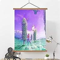 スクロール絵画油絵、都市の風景現代のオイルキャンバス表面現代的な抽象的な建築作品ストレッチ壁アート装飾リビングルーム家の装飾 E- 40*60cm/16*24in