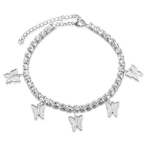 Merkts - Cavigliera con farfalla da tennis con strass, da spiaggia, da donna, sexy, a piedi nudi, colore: argento
