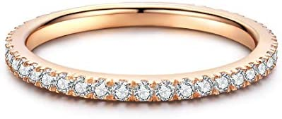 Rose Gold Plated Sterling Silver Cubic Zirconia Stackable Wedding Bands Eternity Ring for Women product image