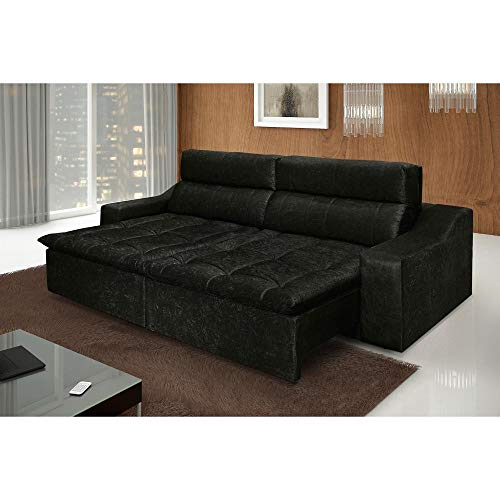 Sofá Retrátil e Reclinável 4 Lugares Connect com Pillow Ambiente Moveis LTDA Preto
