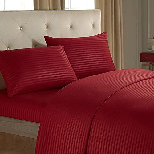 DJNCIA Hogar Set de Hojas 4 en 1 Hoja de Cama ajustadaCasas de Almohadas de lecho Plano Cubierta de la Raya UES para el Hotel Home (sin Cobertura de Relleno/Colcha Interior) Calidad hotelera