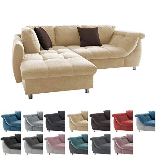 lifestyle4living Ecksofa in Creme mit Schlaffunktion | Eckcouch Eckgarnitur Polsterecke L-Couch Sofa L Form | Moderne Wohnlandschaft inkl. Rückenkissen und Zierkissen