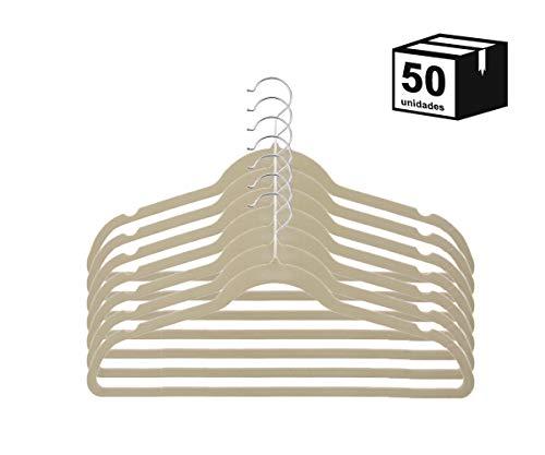 Cabide De Veludo Modelo Tradicional Ultrafino Bege 50 un