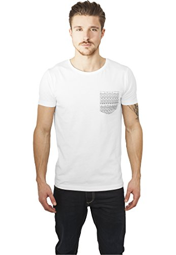 Urban Classics Contrast Pocket Tee T-Shirt, Multicolore (Wht/Aztec), XXL Uomo