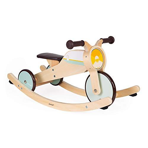 Janod - Triciclo de madera con balancín - Triciclo para bebés de la primera edad - Para desarrollar la motricidad gruesa y el sentido del equilibrio - Juguete de madera - De 12 a 36 meses, J03284