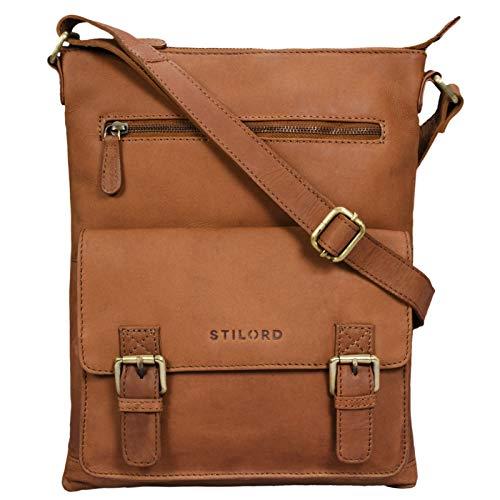 STILORD \'Mason\' Vintage Umhängetasche 13 Zoll für Männer Frauen braune Messenger Bag für DIN A4 Dokumente Schultertasche aus echtem Leder, Farbe:Sattel - braun