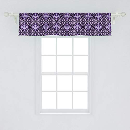 Ambesonne Celtic Window Valance, Unique Celtic Knot with Swirling and Twisted Line Details Print, Curtain Valance for Kitchen Bedroom Decor with Rod Pocket, 54' X 12', Violet Lilac