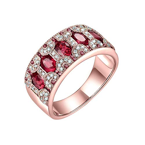 KnSam 14K Yellow Gold Ring Band Ring Oval Cut Green Ruby 1.58ct VS and 0.28ct Diamond Gold Ring Size I 1/2