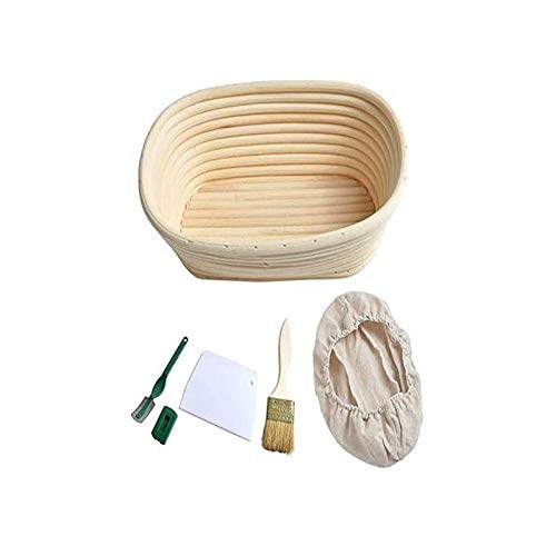 25 cm, raspador de Masa, Cuchillo de panadería y Inserto de Lino, Cesta de Pan, Cesta de ratán Hecho a Mano, cestas de Masa de bambú con Ropa de Cama para Hornear (Color : 1)