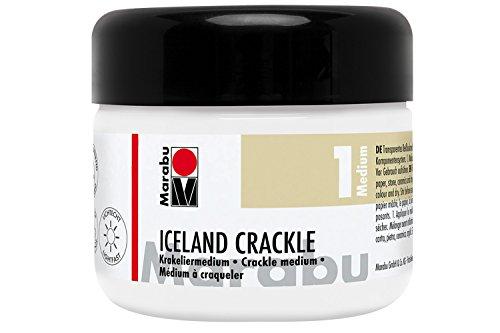 Marabu 12620025400 - Krakeliermedium, Iceland Crackle, 225 ml transparent, Reißlackmedium auf Wasserbasis, lichtecht, wetterfest, schnell trocknend, Zwei-Komponenten-System für Reißlack-Technik