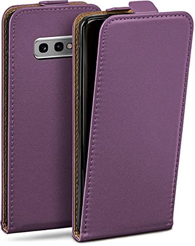 moex Flip Hülle für Samsung Galaxy S10e Hülle klappbar, 360 Grad R&um Komplett-Schutz, Klapphülle aus Vegan Leder, Handytasche mit vertikaler Klappe, magnetisch - Lila