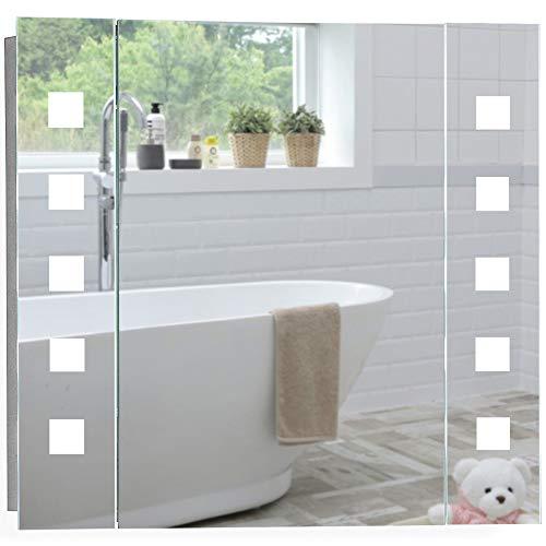 Armoire de toilette pour salle de bain avec miroir lumineux, antibuée, prise pour rasoir, détecteur de mouvement et éclairage LED 60cm(H) x 65cm(l) x 12cm(P) (Atom 60cm(H) x 65cm(L) x 12cm(P))