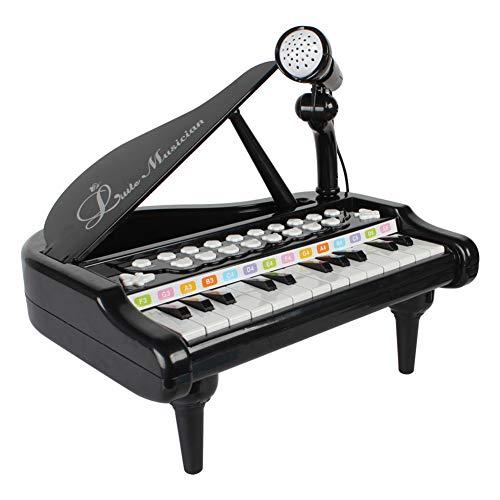 RASTAR キッズ 可愛いピアノおもちゃ 電子ミニピアノ 音楽おもちゃ キズキーボード 電子ミニキーボード 多機能音楽玩具 子供ピアノ 赤ちゃんピアノ オモチャのピアノ 知育玩具 誕生日 子供の日 (ブラック)
