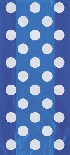 Royal Blue Polka Dot Cellophane Bags, 20ct