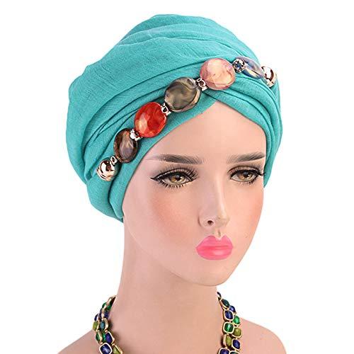 CAFFAINA Collar de joyería para Mujer Bufanda para la Cabeza de Gasa Mantón étnico Gorro de Turbante musulmán Hijab - Azul