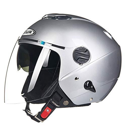 Casque moto moto double lentille fashion casque de moto (Couleur : B-Xl(59-60cm))