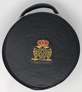 Freemason Regalia Masonic Scottish Rite 33rd Degree Cap Case In Black with Emblem