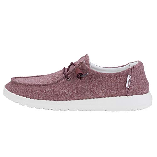 Hey Dude Women's Wendy Burgundy Size 10   Women's Shoes   Women's Lace Up Loafers   Comfortable & Light-Weight