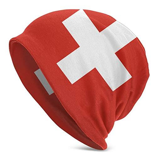 ニット帽 春 夏 帽子 ソフトガーゼ ロールアップワッチ ビーニー ニットキャップ スイスの国旗 オールシーズン ストレッチ性抜群 柔らかい 男女兼用