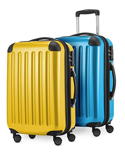 HAUPTSTADTKOFFER - Alex - 2 x Handgepäck Hartschale glänzend, 55 cm, 42 Liter, Gelb-Cyanblau
