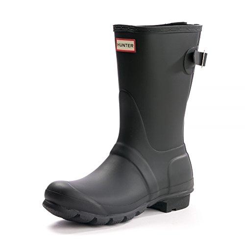 HUNTER Original Short Back Adjustable Rain Boots Black 8 M