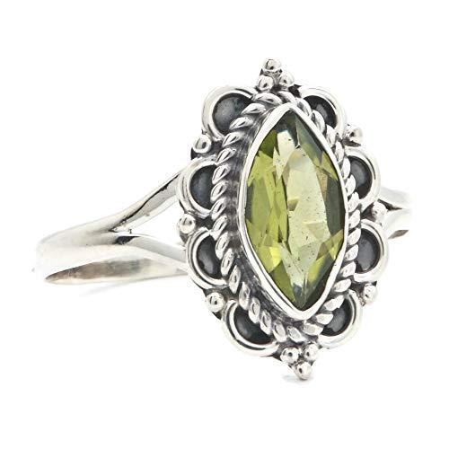 Ring Silber 925 Sterlingsilber Peridot grün Stein (Nr: MRI 152), Ringgröße:62 mm/Ø 19.7 mm