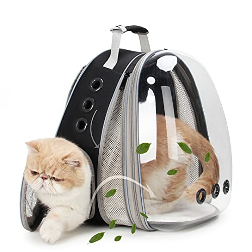 LOLLIMEOW Pet Carrier Backpack, Bubble Backpack Carrier, Cats and Puppies,Airline-Approved, Designed for Travel, Hiking, Walking & Outdoor Use (Black-Front Expandable)
