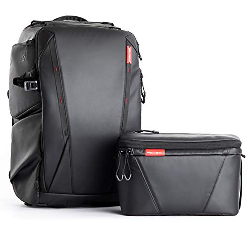 """PGYTECH OneMo Waterproof Camera Backpack, Drone Case with 15.6"""" Laptop Compartment, Custom Dividers, Travel Bag Compatible with DJI Sony Canon Nikon DSLR/SLR Mirrorless Camera Tripod (Twilight Black)"""