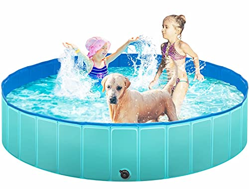 TREYWELL Dog Pool, 65'' Pet Swimming Pool for Large Dogs, Foldable Kiddie Pool for Kids, Bathing Tub Bathtub for Dogs Cats with Brush, Repair Patch, Repair Glue and Storage Bag