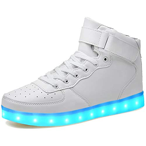 LeKuni Unisex LED Schuhe Leuchtschuhe 2021 Verbesserung 7 Farbe Blinkende Leuchtende Light up High Top Sneakers(Weiß,40)