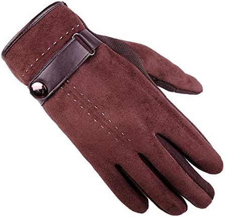 Autumn Winter Gloves Men Thicken Warm Faux Suede Mittens Male Handschoen Thick Sarung tangan#LREW - (Color: Brown)